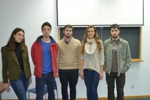 Iniciativa Yazyki integrado por Lucía Velasco, Francisco Javier Ruiz, Sergio Cuesta, María Martínez y Carlos Guerra, en los espacios de Preincubación y Coworking